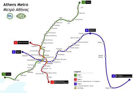 Plan de Métro d'Athènes