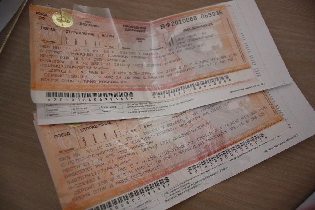 Billets du Transsibérien de Saint-Pétersbourg à Moscou