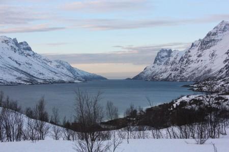 Le Fjord de Ersfjord près de Tromso